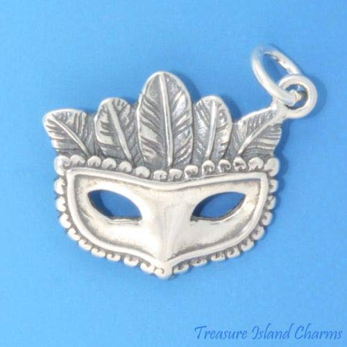 Carnival MASK 925 Sterling Silver Charm Halloween Masquerade Crafting Key Chain Bracelet Necklace Jewelry Accessories Pendants ()