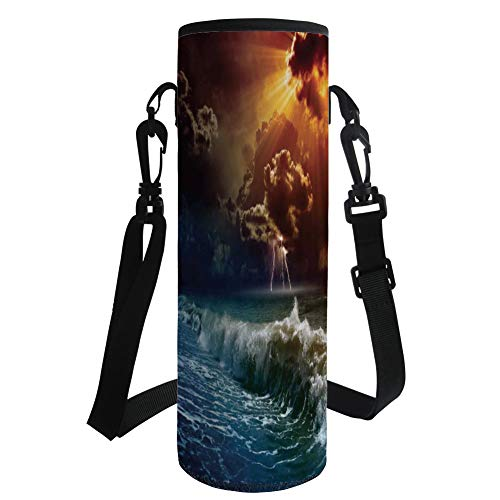 iPrint Water Bottle Sleeve Neoprene Bottle Cover,Lake House Decor,Thunderstorm Rays Over The Ocean Waves Wild Forces Burnt Fire in The Air Decorative,Blue Orange,Fit for Most of Water Bottles by iPrint