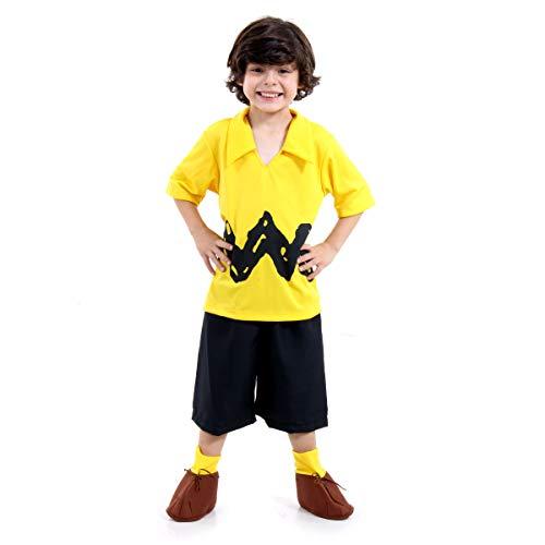 Fantasia Charlie Brown Infantil Sulamericana Fantasias Amarelo/Preto M 6 Anos