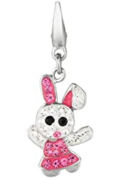 Sterling silver Crystal Bunny Rabbit (Charm)