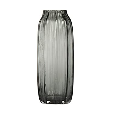 CASAMOTION Ribbed Hand Blown Solid Color Art Glass Vase, Gift Box, Smoke, 12 Inches