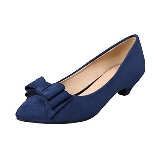YOUJIA Womens Low Cone Heel Court Shoes Pointed-Toe Slip On Dolly Party Evening Office Shoes With Bows Blue