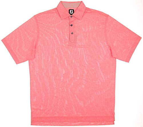 (FootJoy New Mens Solid Stretch Pique Golf Polo Large L Heather Coral 25703)