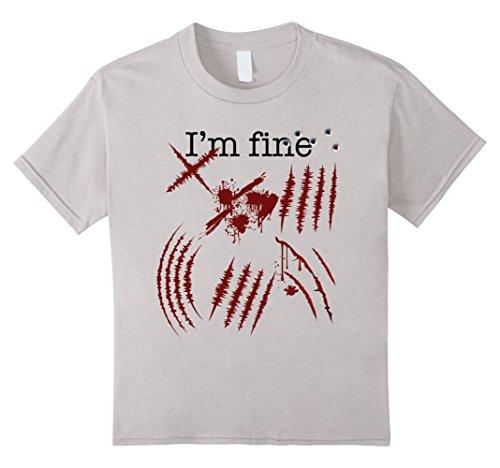 Kids Zombie T-Shirt Im fine Funny Zombie Halloween Costume Tee 4 Silver