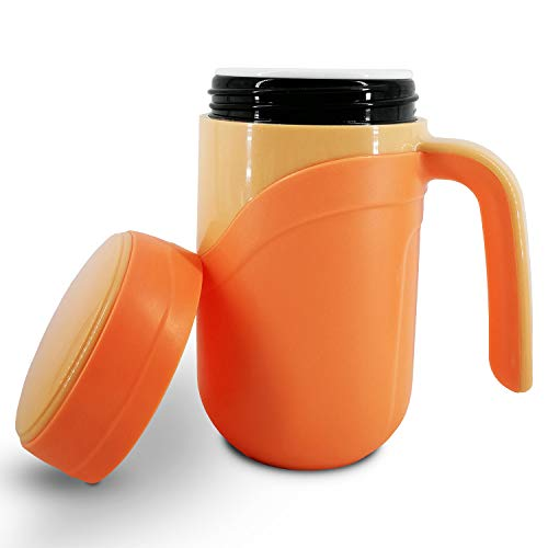 Taza de viaje de ceramica, taza de ceramica aislada con tapa a prueba de fugas y mango de agarre para cafe o te, adecuado para uso en el hogar, la oficina o la escuela (12 oz, naranja)