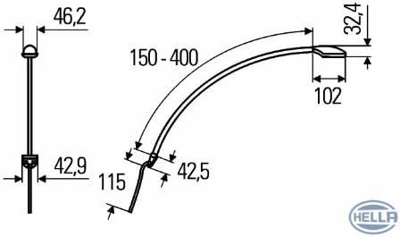 Multivolt 12//24 V Blende schwarz Lichtscheibe wei/ß mit Optik Leuchtarm flexibel ,HELLA 2JA 343 720-121 Leseleuchte Spot Power LED