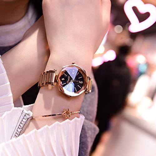 Ladies Watch,Star Dial Diamond Cut Surface Quartz Alloy Belt Watch, 8 - Sided Large Dial Wrist Watch for Girl/Women,Gold ()