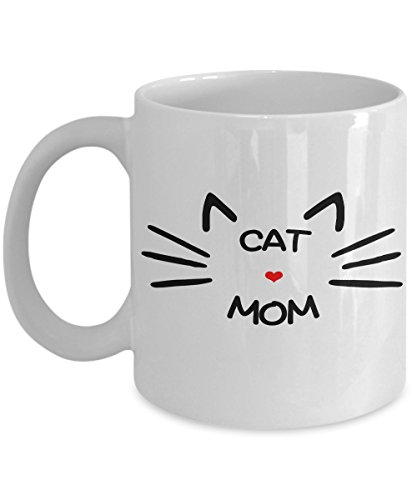 Cat Mom Coffee Mug – Great Gift For Women Cat Lovers – Best Quality White Ceramic Cup For Coffee, Tea & Hot Chocolate – Perfect Funny & Cute Cat Gift For The Cat Lady In Your Life!