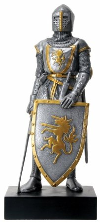 Standing Knight Figurine - Silver Colored French Knight Design Standing Statue in Full Armor