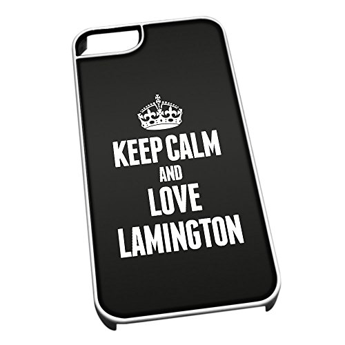 Bianco cover per iPhone 5/5S 1210 nero Keep Calm and Love Lamington
