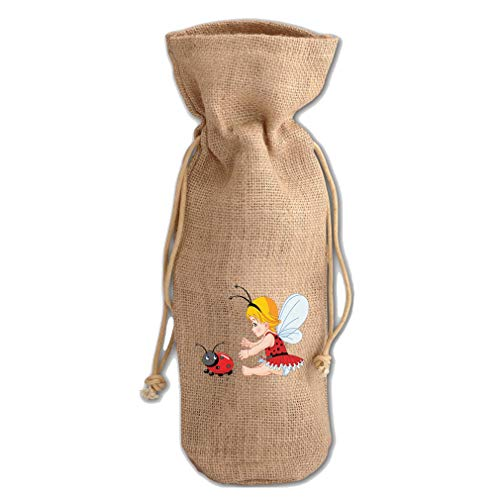 Little Girl With Wings And Ladybird Jute Burlap Wine Drawstring Bag