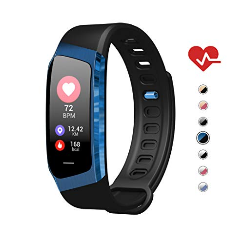 (AOE Fitness Tracker HR, Waterproof Health Sport bracelet, Color Screen Smart Watch, Activity Tracker with Blood Pressure Steps Calories Call/SMS, Best Gift for Women Men Kids, Android&iOS (Black+Blue))