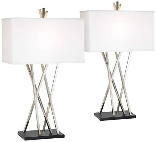 - Asymmetry Modern Table Lamps Set of 2 Brushed Steel Black White Linen Rectangular Shade for Living Room Family Bedroom - Possini Euro Design