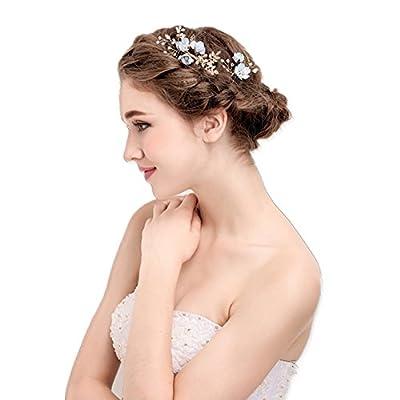 Vintage Blue Flower Crystal Pearl Side Combs Bridal Headpiece Wedding Hair Accessories