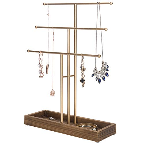 MyGift 3-Tier Gold-Tone Metal Jewelry Display Stand with Wooden Ring Tray (Jewelry Wooden Stand)
