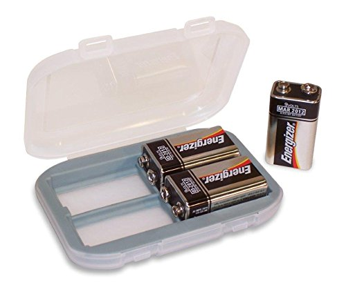 Price comparison product image 9V Portable Battery Storage Case - Holds 4,  Gray Liner with Traction Feet