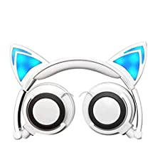 Wired Headphones Over-Ear Foldable Cat Ear Earphones with LED Light For Girls,Children.Compatible for Mp3 Mp4 player,iPhone 6S,Android Phone. (white)