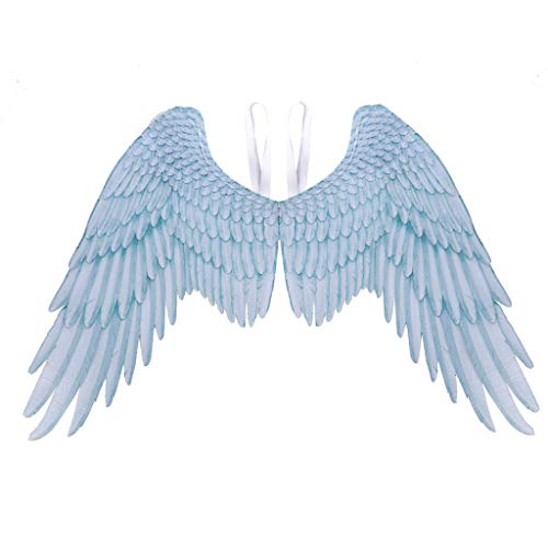 Tuscom Wings, Fashion Halloween Mardi Gras Cosplay Pretend Play Party Dress Up Costume Accessories Feather Angel Wings and Fallen Angel Wings for Unisex Adults, Teens, 41x29 Inches (Blue)]()