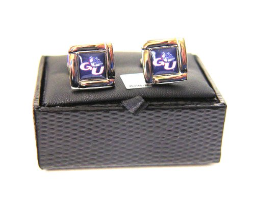 NCAA Gonzaga Bulldogs Square Cufflinks With Square Shape Engraved Logo Design Gift Box Set by aminco