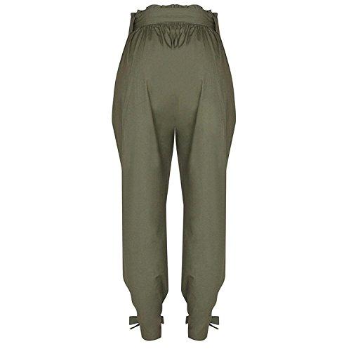 Mode Pantaloni Elegante Harem Cintura Lunga Inclusa Pantaloni di Grün Estivi Donna Waist Baggy Pantaloni Monocromo Libero High Tempo BOLAWOO Pantaloni marca xUzqIwng