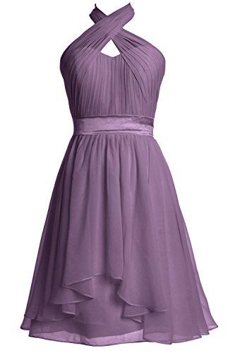 MACloth Women Wedding Party Formal Gown Halter Knee Length Bridesmaid Dress (Custom Size, Wisteria)