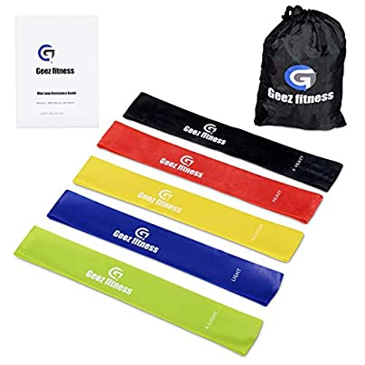 Geez FITNESS Resistance Bands Loop Set bands for Women and Men Fitness Mobility Strength Training Body amp Injury Rehab Glutes Thighs Legs Arms yoga pilates FREE EBOOK Estimated Price £9.52 -