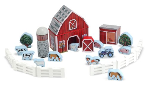 Melissa & Doug Farm Blocks 36-piece Play Set (Set Wooden Barn)