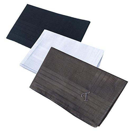 OWM Handkerchief Pack of 3 Cotton Embroidered Initial Monogram Handkerchief Men (T, Assorted)
