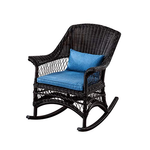 HYYTY-Y Outdoor Wicker Rocking Chair Rattan Patio Yard Furniture All- Weather with Cushions (Blue) (Color : B) (Chair Rocking Wicker Ikea)