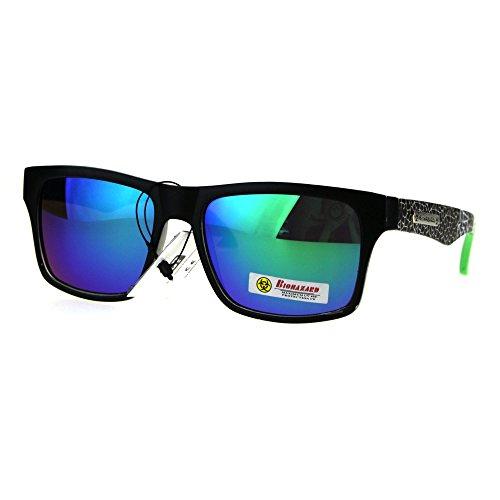 Biohazard Sunglasses Matted Rectangular Frame Unisex Skater Shades Black Green (Skater Glasses)