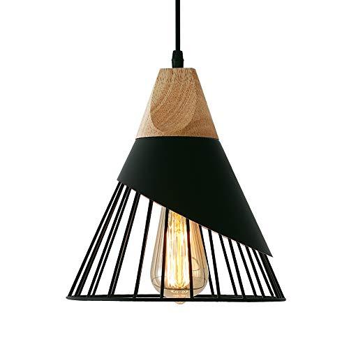 Lámpara Colgante Vintage de Metal,MAXDUYU Lámpara de Techo Interior,Lámpara colgante de madera E27 para Cocina,Sala,Comedor,Dormitorio,26cm a buen precio