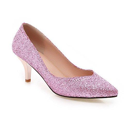 Allhqfashion Mujeres Pull-on Lentejuelas Acentuado Cerrado Dedo Del Pie Kitten-heels Solid Pumps-Zapatos Pink