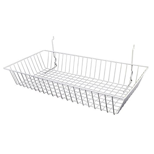 AMKO BSK11/WTE Shallow Basket in White – Storage Crate for Bedrooms, Closets, Under Bed, Small Living Space. Retail Shelving and Wall Displays (Pack of 6)