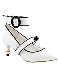 Show Story Glam Ankle Strap Buckle Pointed Toe Exquisite Pearl Heel Dress Pump,LF60421