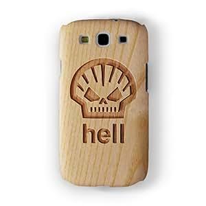 Carved on Wood Effect_Hell Funda Completa de Alta Calidad con Impresión 3D, Snap-On, Diseño Negro Formato Duro parar Samsung® Galaxy S3 de Chargrilled