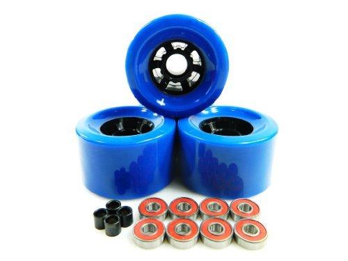 83mm Longboard Flywheels Wheels + ABEC 7 Bearings Spacers (Blue) by Blank