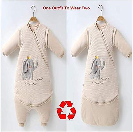 ZYEZI Saco De Dormir Para Bebés Con Mangas Desmontables Algodón Engrosado Saco De Dormir Antipatadas L Elefante: Amazon.es: Bebé