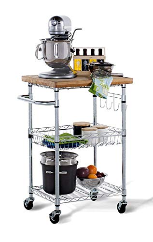 Trinity TBFZ-1401 EcoStorage Bamboo Kitchen Cart, Chrome ()