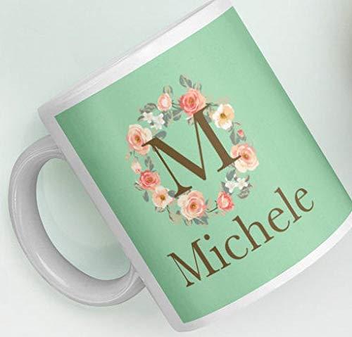 Customizable Gift Mug Personalized Custom Initial M Rose Floral Wreath Monogram Green