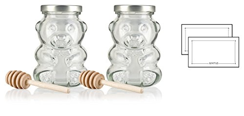 9 oz / 270 ml Honey Bear Glass Jar with Gold Metal Plastisol Airtight Lid - (2 PACK) + Honey Dippers and Labels (holds 12 oz net weight of honey) ()