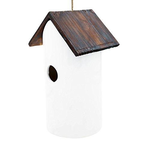 CEDAR HOME Hanging Bird House Outdoor Garden Patio Decorative Resin Pet Cottage White Ceramic Restful Birdhouse by CEDAR HOME (Image #6)