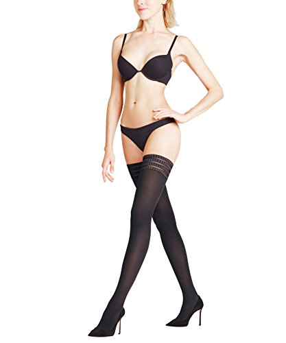 Falke Women's Pure Matte 50 Stay Up Thigh High Stocking, Black, Medium/9.5-10