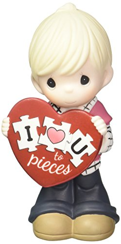 (Precious Moments I Love You Topiece Bisque Porcelain Figurine Boy 163002)