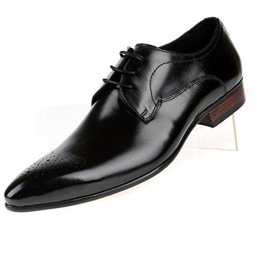 Lyzgf Mænd Gentleman Business Casual Mode Banket Udskårne Spidse Snørebånd Lædersko Sort B5WFhfUBN