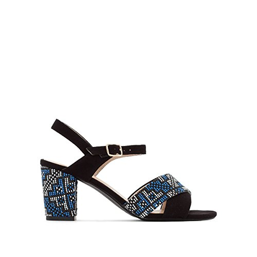 La Redoute Collections Womens Sandals with Tribal Print Heel Black/Blue