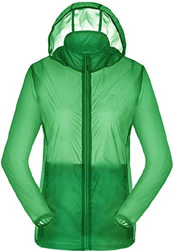 HengJia Women's Ultra Lightweight Jacket UPF 50+ Cycling Hiking Windbreaker Green S