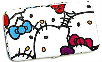 Hello Kitty Faux Leather Flat Hinge Wallet : Muti Color Faces
