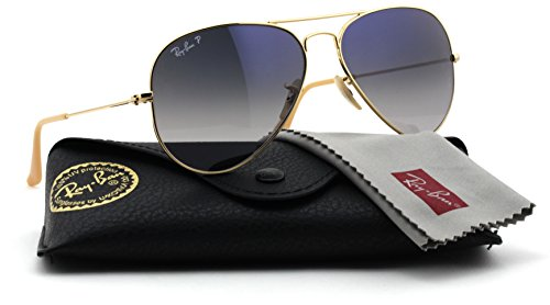 Ray-Ban RB3025 001/78 Gold Frame / Gradient Blue Polarized Lens - Ban Mirror Ray Frame Aviator Silver Blue