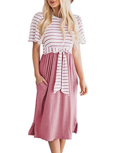 MEROKEETY Women's Summer Striped Ruffle Sleeves Tie Waist Pockets Casual Swing Midi Dress Dusty Pink