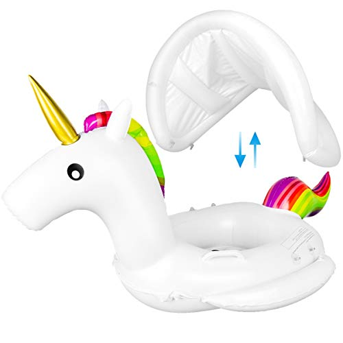 Meland Baby Pool Float with Canopy - Unicorn Inflatable Swimming Pool Floaties Boat with Sun Shade for Infants Toddlers (Unicorn)